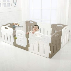 Ifam Forest Baby Play Yard with Door Set (10pcs 198x133cm) - Mocha Grey + White