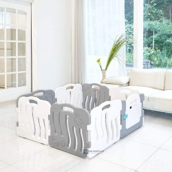 Ifam Shell Baby Play Yard with Door Set (8pcs 133x133cm) - Grey + White