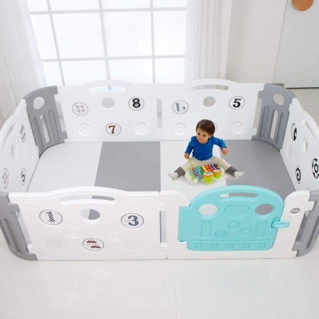 Deluxe Learning Baby Play Yard + Play Mat Bundle (save 5%) - Grey + White