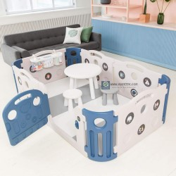 Ifam Deluxe Learning Baby Play Yard + Play Mat Bundle (save 5%) - Deep Blue + Cream White