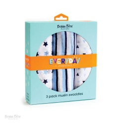 Bubba Blue Everyday Essentials 3 Pk Muslin Swaddles (Blue)