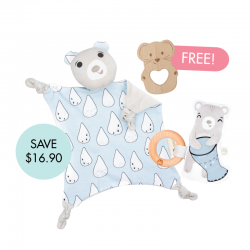 Kippins Billie Cuddle Blankie Set (FREE Wooden Teether)