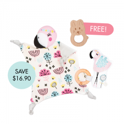 Kippins Coco Cuddle Blankie Set (FREE Wooden Teether)