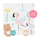 Kippins Coco Story-print Wrap Set (FREE Wooden Teether)