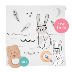River Story-print Wrap Set (FREE Wooden Teether)