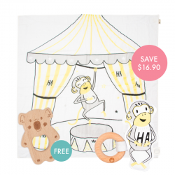 Kippins Splits Story-print Wrap Set (FREE Wooden Teether)