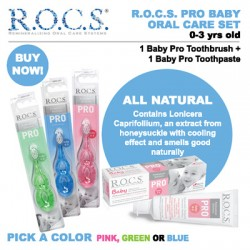 ROCS PRO Natural Toothpaste + Baby Pro Toothbrush (Made in Europe) XYLITOL NO FLUORIDE