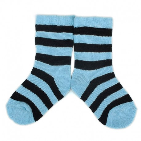 PLUSH® Stay on socks (0-2yrs) - Blue with Black Stripes