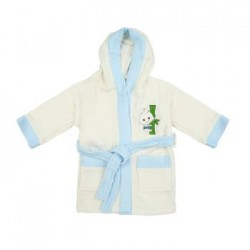 Bebe Bamboo 100% Bamboo Bathrobe White/Blue (3-5YRS)