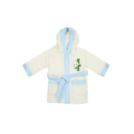 Bebe Bamboo 100% Bamboo Bathrobe White/Blue (0-2YRS)